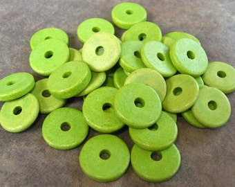 10 Key Lime Greek Ceramic Beads 13mm Round Washers