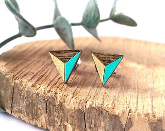 Triangle Earrings Triangle Stud Earrings Geometric Triangle Gifts For Her Gifts Under 20 Geometric Jewelry Mint Gold Surgical Steel