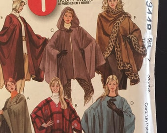McCalls 3448, sizes Xlg-Xxl, 1 hour poncho, uncut, factory folded