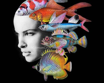 DIGITAL COLLAGE A4, black and white fashion portrait, colourful fish illustrations, fishwoman, fantasy art, fashion magazine pic 'Anomaly'
