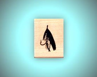 Fishing Fly mounted rubber stamp, Father's Day, men, masculine, fish, Sweet Grass Stamps No.14