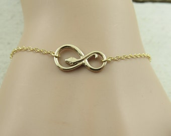 Infinity bracelet, Snake infinity bracelet, Infinity snake bracelet, serpent bracelet, forever bracelet, gold filled chain, bronze snake