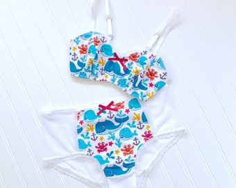 Down Under Nautical Print Sweetheart Bra and Panty set