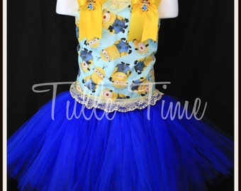 Minion birthday party pageant corset  tutu dress any size 12m 18m 2t 3t 4t 5t 6