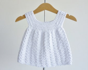 Baby sundress -  pure white - newborn to 3 months - crochet dress - beautifully soft organic cotton