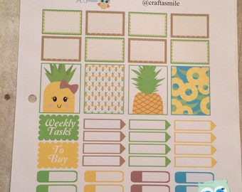 Sticker Sheet - Pineapple Theme for your Personal Planner (full weekly package available in the shop)