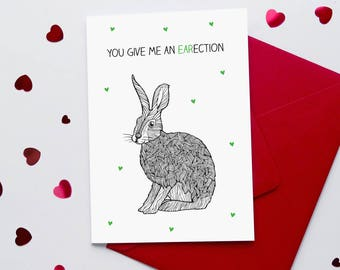 Funny Valentine's Card  | Rude Valentines Card | Rabbit card