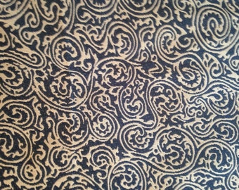 Blue & Tan Swirl Paisley Curtain Upholstery Fabric- by the yard Ready to Ship