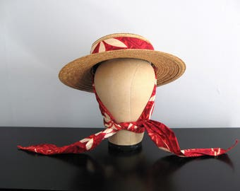 50s straw hat - vintage sunhat with scarf fabric tie hawaiian floral print red maroon woven brim Flip Top Jarodi millinery picnic summer