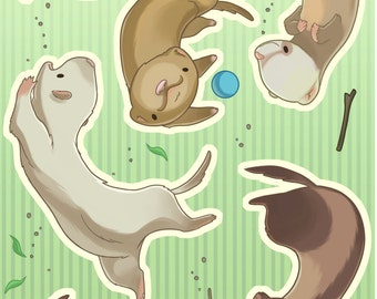 Falling Animals - Ferret Sticker Set