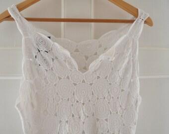 Handmade White Crochet Knee Length Dress  - Small - Medium 8-12