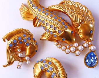 Elizabeth Taylor Avon Sea Shimmer fish brooch pin | clip earrings | rare | mint in box | 1993 | vintage Avon jewelry | Liz Taylor