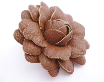 Brown Genuine Leather Flower _X0025896524/234_ Leather decoratives Roses_Brown of 50 mm _ pack 1 pcs
