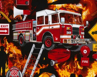 Fire Rescue Fabric, FireFighter Fabric Fabric by Timeless Treasures Fire- C5501 -Fire 100% cotton / Fat Quarters & By The Yard