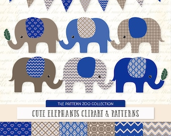 Patterned Royal Blue Elephants Clipart and Digital Papers - Blue Elephant Clipart, Elephant Vectors, Baby Elephants, Cute Elephants