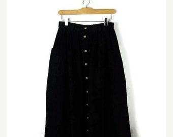 ON SALE Vintage Black Corduroy Button down Flare Long Skirt /Eddie Bauer/W26/Minimal Skirt