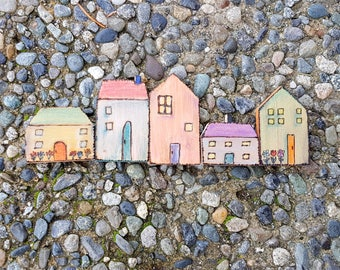 Tiny cottage magnets, pyrography art with chalk pencil colors, single magnet or a set of 3 or 5, quirky rustic welsh English cottage style