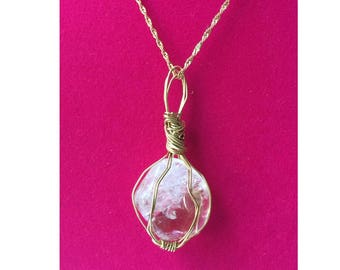 Clear Quartz Pendant, Handmade, Wire Wrapped Crystal (Gold Wire #2)