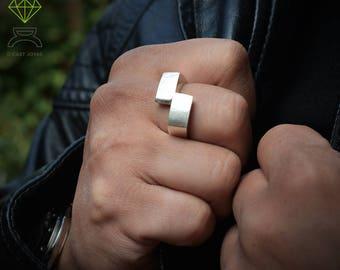 Geometric silver ring  Men silver ring  Rectangular ring Handmade ring Contemporary jewelry Urban style Cool man ring