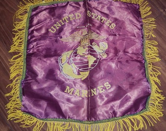 Vintage WW2 Sweetheart Pillow Cover USMC Fringed Satin Home Front