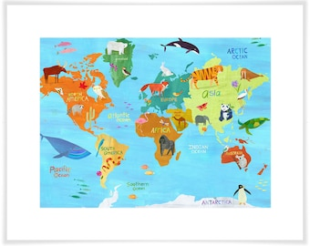 Animals Around the World, Map Art Print, Personalization Available, Geography Illustration for Kid's Room, Nursery, or Classroom