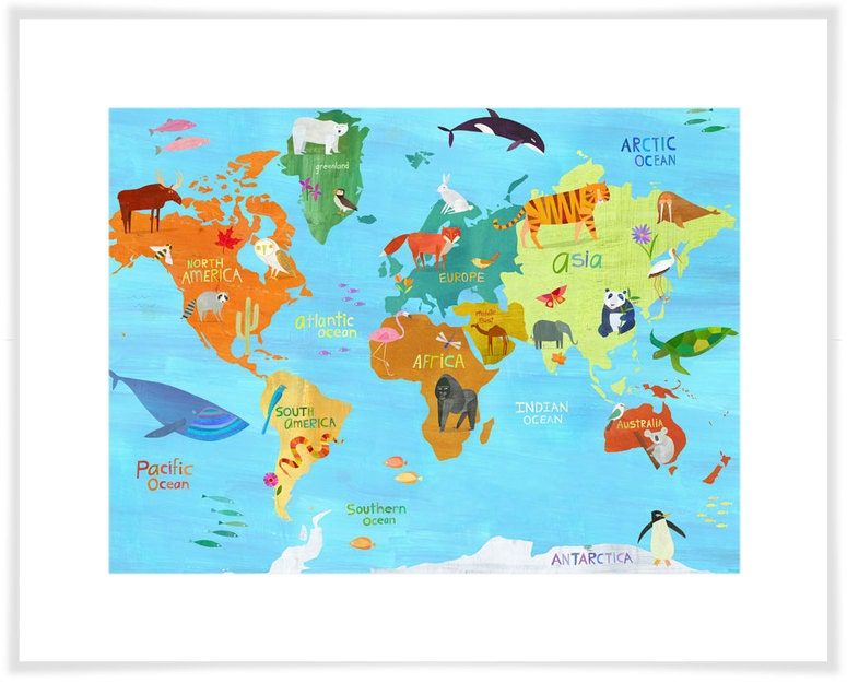 Animals Around The World Map Art Print Personalization - World map please