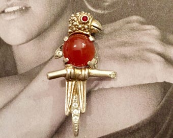 Small brooch Parrot 30s - silver and carnelian, rhinestones and Garnet (or Ruby)