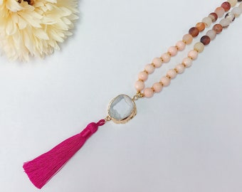 Pink Tassel Beaded Necklace