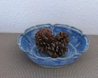 Serving Bowl - Handmade Stoneware Ceramic Pottery - Indigo Blue - 1-1/4 Quarts