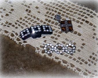 Rhinestone shoe buckle, rhinestone pin, triple circle rhinestone brooch, antique earring