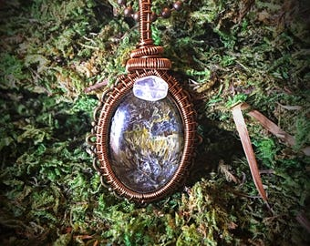Wire Wrapped Buttercups and Moss Necklace with Moonstone