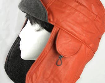Orange & Grey Hat Bomber Aviator Lumberjack Ear Flaps | Orange Leather Biker Hat w Gray Fleece | Cycling Biking | Windproof Warm XL