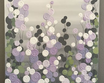 Lavender, Sage Green, and Gray Textured Painting, Abstract Flowers, Large Acrylic Painting on Canvas