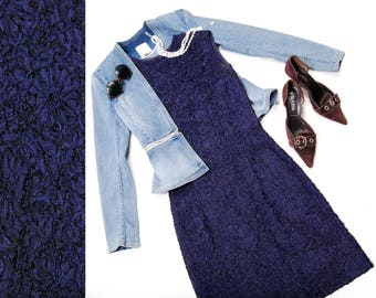 60s navy blue cap sleeve ribbon wiggle dress - size small