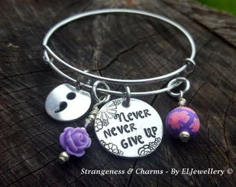 Hand Stamped 'Never Never Give Up' Semi Colon Aluminium Charm Bangle, Inspirational, Feminine, Confidence,Empowering, Stamped Jewellery.