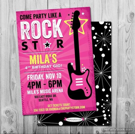 Rockstar Classroom Decor ~ Rock star birthday party invitation printable girls