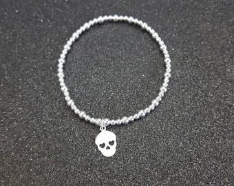 925 sterling silver beaded bracelet with sugar skull charm