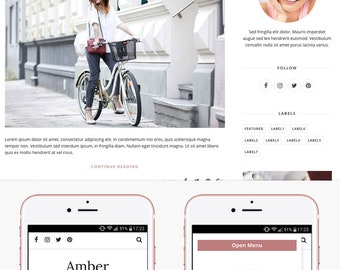 Blogger Template Responsive, Blogger Theme, Minimal, Slider, Simple, Photography, Template for Blogger, Premade, Blogspot - Amber