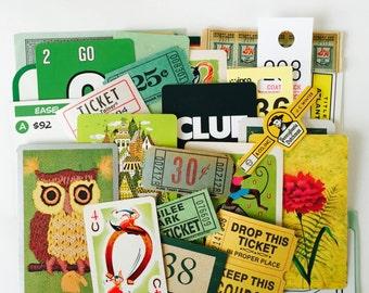 Mini Scrap Kit / 35 pc. Vintage Green Mini Inspiration Kit for Altered Art, Mixed Media, Journals, etc