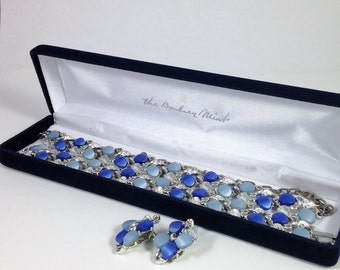Light Blue and Royal Blue Thermoset Necklace, Bracelet and Earring Set