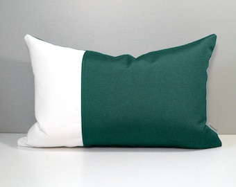 Forest Green & White Outdoor Pillow Cover, Decorative Pillow Cover, Modern Color Block, Green White Sunbrella Pillow Cover, Cushion Cover