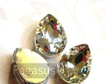 White Diamond Glass crystal tear drop gems (9 color options) flatback jewel for costume jewelry,elven cosplay,wedding favors,dragon larp