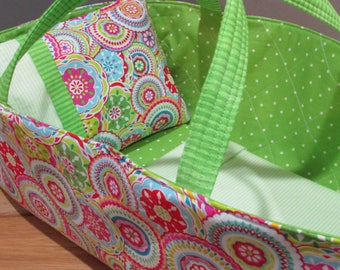 Doll Carrier, Will Fit  Bitty Baby and Wellie Wisher Dolls, Colorful with Green Lining, 16 Inches Long,Baby Doll Basket