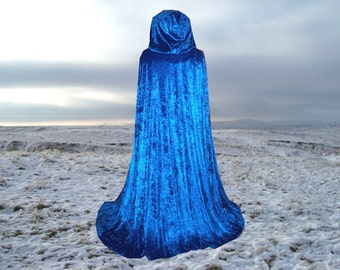 Royal Blue Cloak - Cape-  Hooded  - Velvet - Renaissance - Medieval -Harry Potter -Wedding Halloween