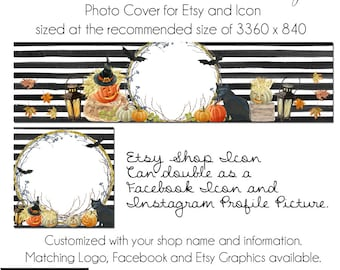 Halloween Etsy Set, Fall Etsy Set, DIY Etsy Cover Photo, Instant Download, Halloween Magic, New Cover Photo For Etsy, Made to Match Graphics