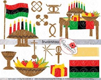 Kwanzaa Clipart: Digital Scrapbook Clipart Pack (300 dpi) Kwanzaa Mkeka Muhindi Kinara Kente Clip Art Digital Scrapbook