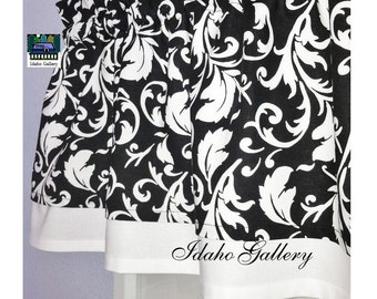 Black and White Curtain Double Layer Curtain Black White Scroll Bedroom Curtain Kitchen Curtain 13 inch Valance Modern