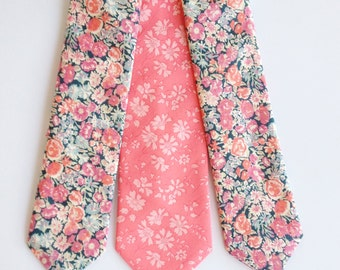 Coral Wedding Tie, Liberty of London Print Tie, orange necktie, coral skinny tie, custom wedding necktie, phoebe, coral liberty tie, peach