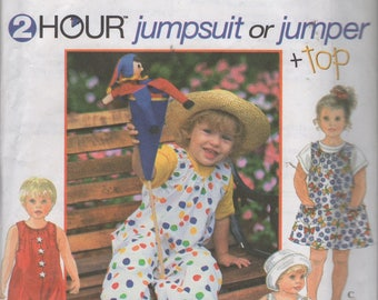 Toddlers 2 Hour Jumpsuit or Jumper and Top  Sewing Pattern,  Simplicity 9526,  Size  2 3 4, Uncut