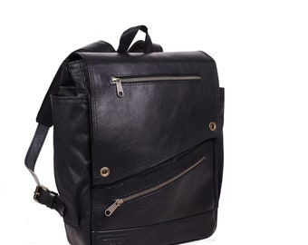 Black Wax canvas leather backpack for Womens. Mens waxed cotton backpack laptop. Travel bag